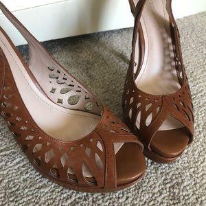 BCBGeneration Shoes - {BCBGeneration} Peep Toe Sling Back Platform Heels